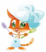 Cook cat. Funny cartoon and vector character