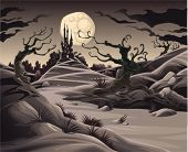 Horror-Landschaft. Cartoon und Vektor-Illustration.