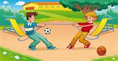 Tug of war with background. Funny cartoon and vector illustration.