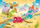 Dinosaurs Family with background. Funny cartoon and vector illustration