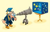 Scientist with telescope. Symbolical cartoon and vector illustration.