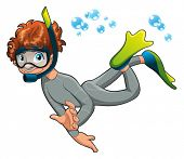 Baby Frogman. Funny cartoon and vector character