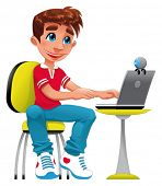 Boy and computer. Funny cartoon and vector character