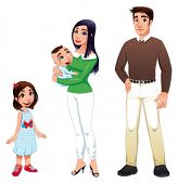 Human family with mother, father and children. Cartoon vector illustration