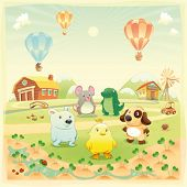Baby farm animals in the countryside. Funny cartoon and vector illustration, isolated objects.