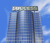 picture of building exterior  - One 3d render of a skyscraper and a poster with the success word on the roof - JPG