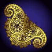 Hand-Drawn Abstract Henna (mehndi) Paisley Doodle Illustration Design Elements
