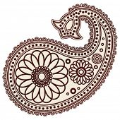 Vector Hand-Drawn Abstract Henna (mehndi) Paisley Doodle Vector Illustratie designelementen.