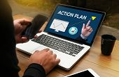 Постер, плакат: Action Plan Action Plan Strategy Vision Planning Creative Development Process Action Plan Act