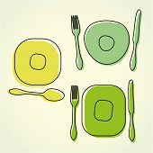 Cutlery and plate