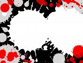 Illustration of red, grey and white paint splashes on black background.