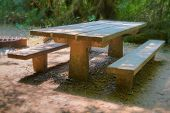 HDR picnic table with soft focus background