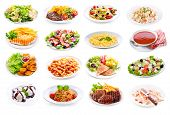 Set Of Various Plates Of Food poster
