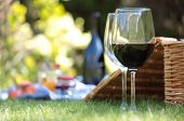 Wine glasses and hamper picnic scene