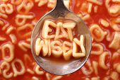 Advice for healthy eating -  Eat wisely message with alphabet spaghetti on a spoon