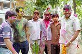 Men Celebrating Holi Festival