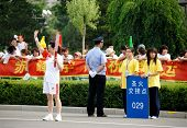Inner Mongolia,China - JULY 10:  A torch bearer during the olympic torch relay for the Beijing 2008