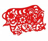 Vector of Paper Cutting Series,Chinese Zodiac Sign(No.2)--COW.