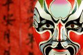 Beijing opera masks on a festive background.
