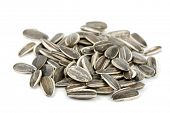 stock photo of sunflower-seeds  - sunflower seeds isolated on white - JPG