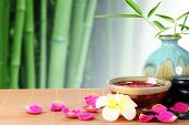 Spa still life with rose petals and bamboo leaf