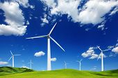 picture of wind-turbine  - Wind turbines landscape - JPG