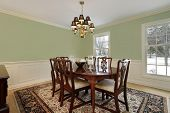 Dining room in suburban home with floral carpet