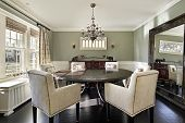 Dining room in luxury home with olive walls