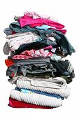 pic of knickers  - High stack of laundry isolated on white with clipping path - JPG