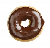 Juicy doughnut with chocolate glacing isolated on white background - shot in studio with 21.1 megapixel camera