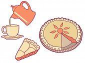 Homemade Pie & Coffee Vector Illustration