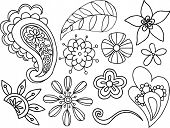 Flowers & Paisley Vector Elements