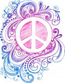 image of peace-sign  - Sketchy Doodle Peace Sign Vector Illustration - JPG