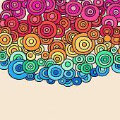 Mão-extraídas psicodélica Rainbow Groovy abstrato colorido Doodle círculos - Vector Illustration