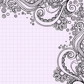 Hand-Drawn Psychedelic Doodles on Graph (Grid) Paper Background- Vector Illustration