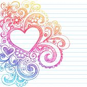 Hand-Drawn Abstract Heart Sketchy Doodles on Lined Notebook Paper Background- Vector Illustration