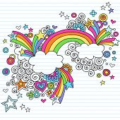Hand-Drawn Psychedelic Rainbow, Clouds, and Stars Notebook Doodle on Lined Paper Background- Vector