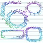 Desenhados à mão abstrata esboçado Notebook Doodle quadros e elemento de Design de fronteiras em folha de caderno pautada Pape
