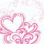 Hand-Drawn Valentine's Day Swirls and Hidden Hearts Sketchy Notebook Doodles on Lined Paper Backgrou