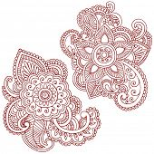 Hand-Drawn Abstract Henna (mehndi) Paisley Doodle Vector Illustration Design Elements