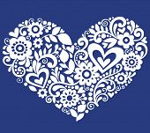 Hand-Drawn Flowers, Leaves, and Swirls in the Shape of a Heart- Vector Illustration on Blue Backgrou