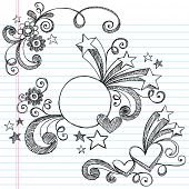 Hand-Drawn Stars, Hearts, Circle Frame, and Swirls Sketchy Notebook Doodles Vector Illustration on Lined Sketchbook Paper Background
