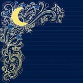 Mão-extraídas esboçada, Lua, estrelas e redemoinhos Notebook Doodles - Vector Illustration no caderno forrado