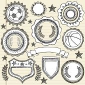 Hand-Drawn Sketchy Doodle Sports Crests and Patches Vector Illustration on Lined Notebook Paper Background