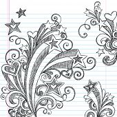 Hand-Drawn Back to School Starbursts, Swirls, Hearts, and Stars Sketchy Notebook Doodles Vector Illu