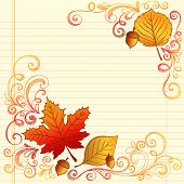 Hand-Drawn Fall / Autumn Season Sketchy Notebook Doodles with Maple Leaf, Acron, and Swirls- Vector