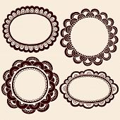 Hand-Drawn Abstract Henna Mehndi Silhouette Flower Frames Doodle Vector Illustration Design Elements