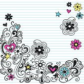 Hand-Drawn Sketchy Marker Notebook Doodle Design Elements on White Lined Sketchbook Paper Background