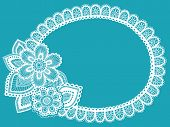 Hand-Drawn Lace Doily Henna / Mehndi Paisley Flower Doodle Frame Border- Vector Illustration Design