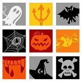 Halloween pop-art - illustrations - icons set -